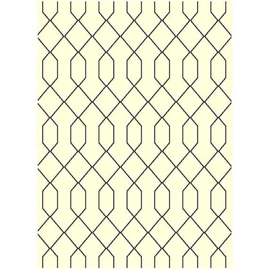 KALORA INTERIORS:5' x 7' Faira Area Rug - Cream + Black Line Pattern
