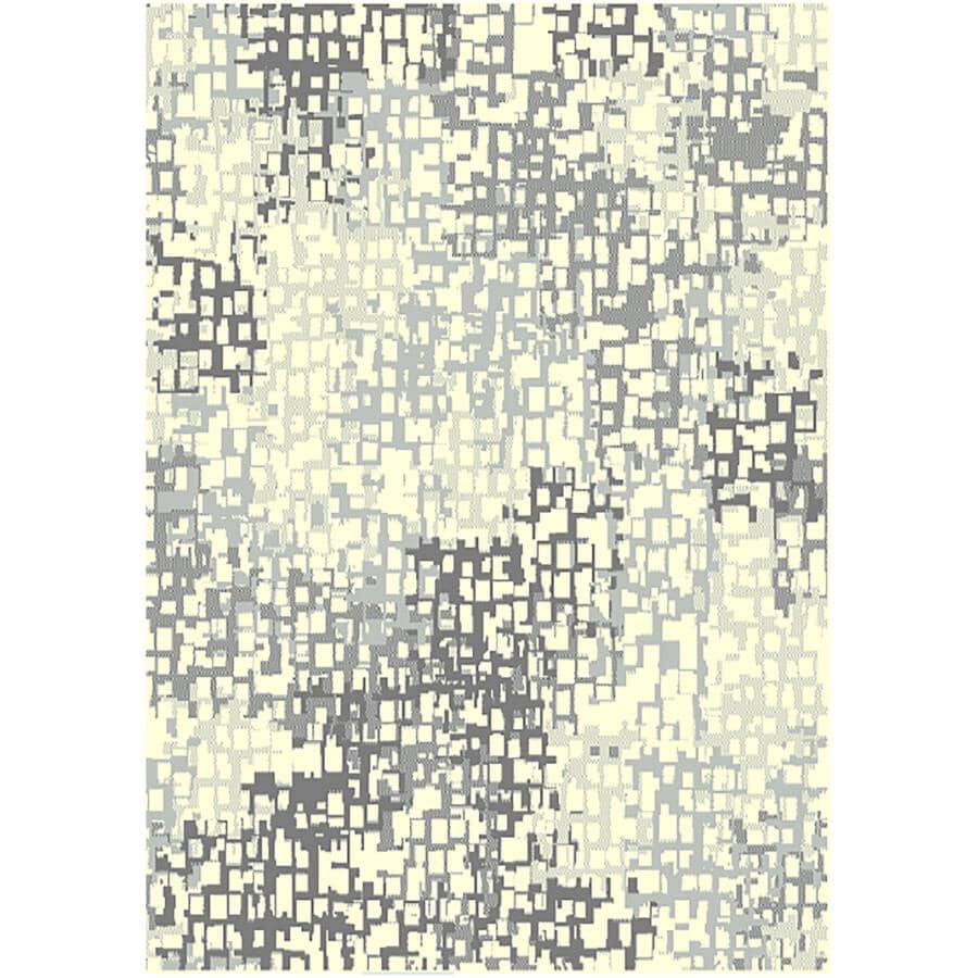 KALORA INTERIORS:5' x 7' Faira Area Rug - Light Grey, Dark Grey + Cream Pattern