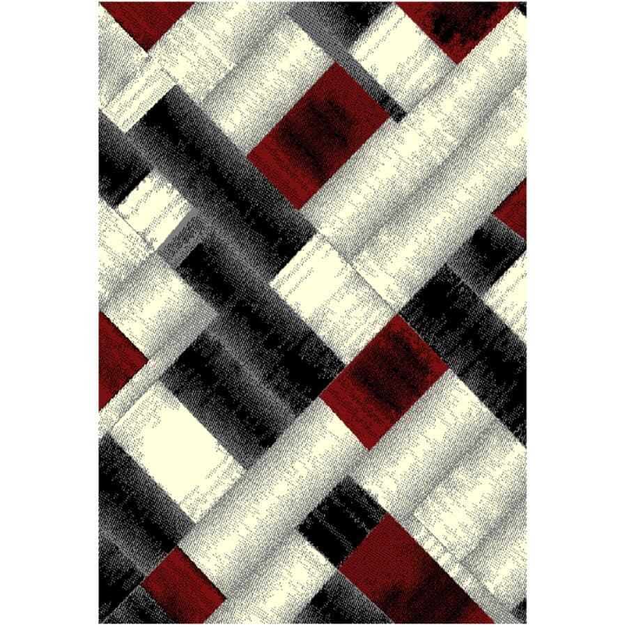 KALORA INTERIORS:5' x 7' Faira Area Rug - Black, Grey + Red Pattern