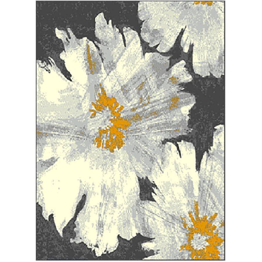 KALORA INTERIORS:5' x 7' Faira Area Rug - Grey, White + Yellow Floral Design