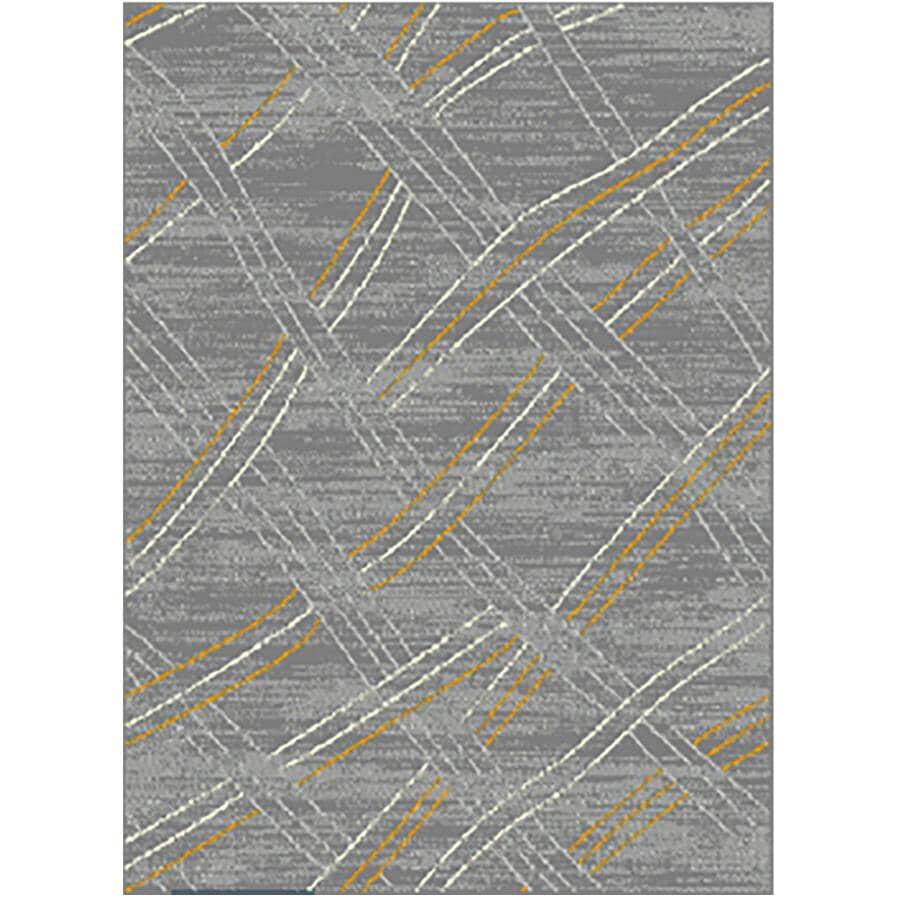 KALORA INTERIORS:5' x 7' Faira Area Rug - Grey, White + Yellow Weave Pattern