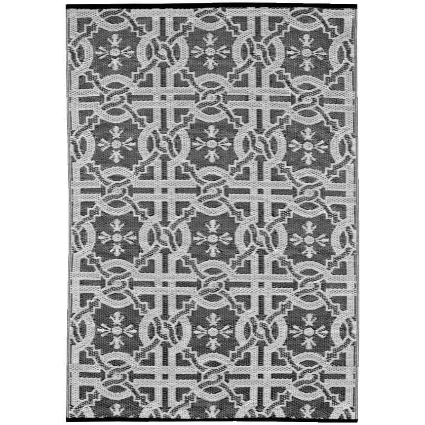 "MULTIMATS:72"" x 36"" Black/White Tile Plastic Patio Rug"