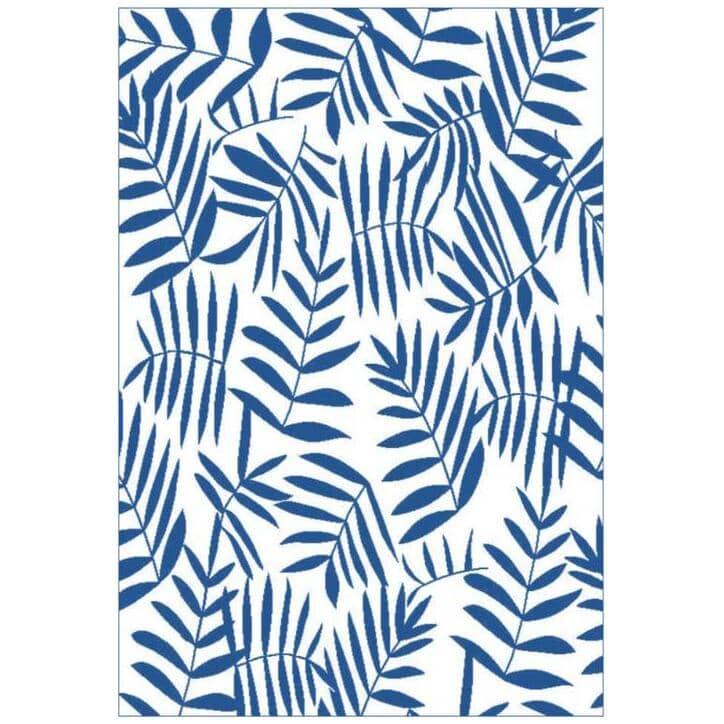 "MULTIMATS:72"" x 36"" Blue Leaf Plastic Patio Rug"