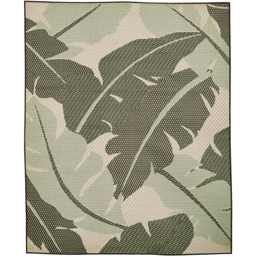 "KORHANI:94"" x 79"" Flatweave Patio Rug - Green Leaf"