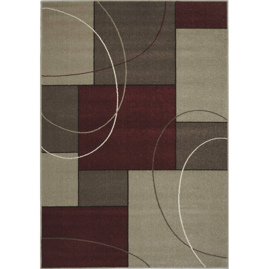 KALORA INTERIORS:8' x 11' Casa Red and Grey Squares Area Rug