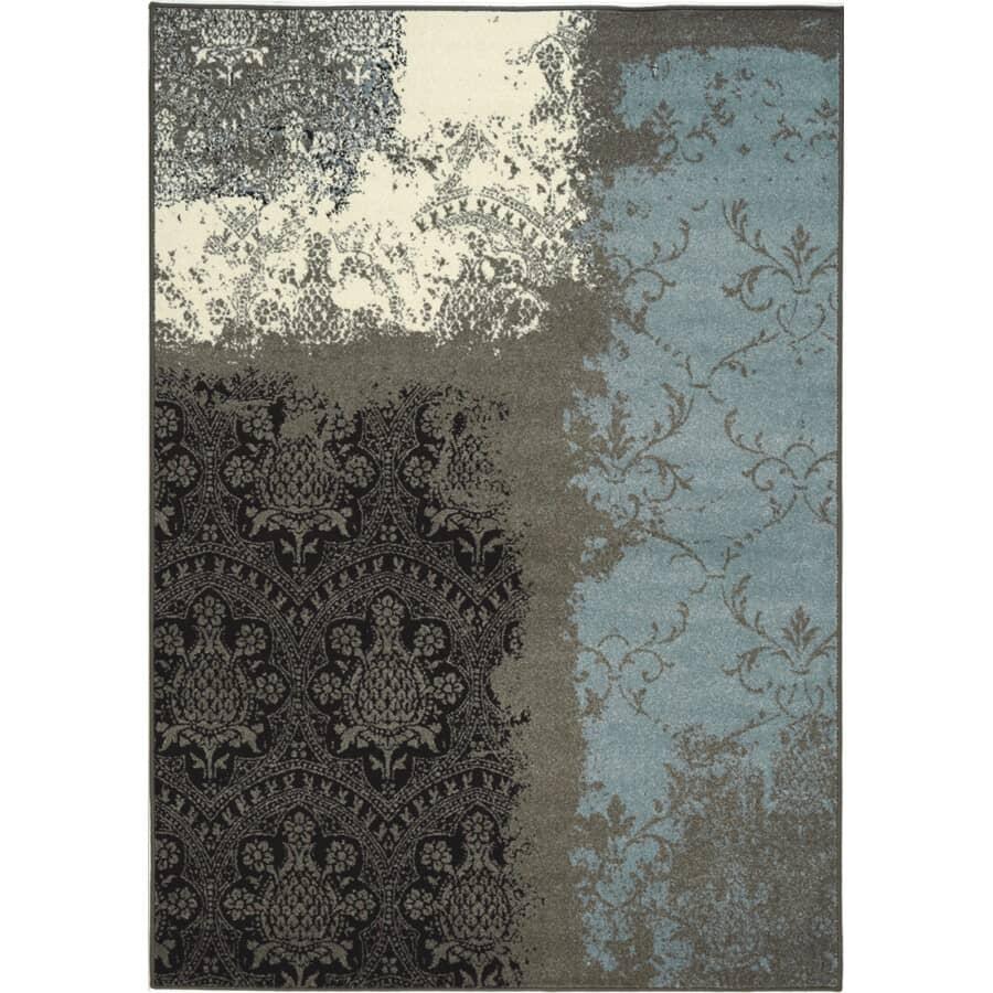 KALORA INTERIORS:6' x 8' Casa Blue/Grey/Black Contemporary Area Rug