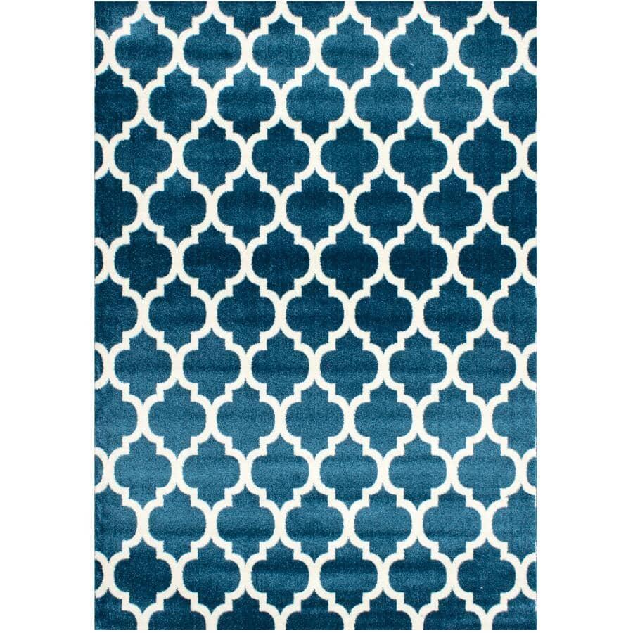 KALORA INTERIORS:6' x 8' Klio Area Rug - Blue + White Design