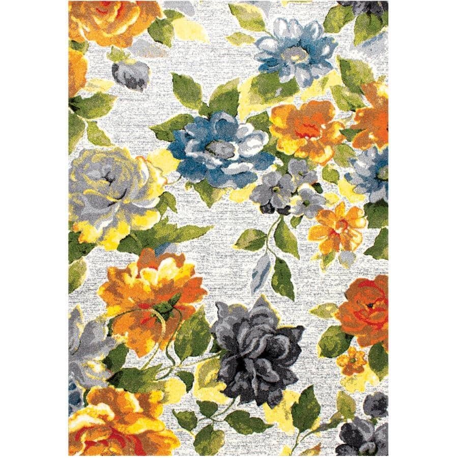 KALORA INTERIORS:6' x 8' Klio Area Rug - Grey Floral Design