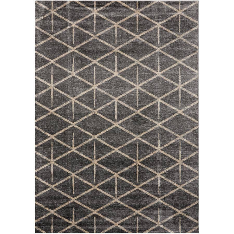 KALORA INTERIORS:6' x 8' Delta Area Rug - Dark Grey + Cream Pattern