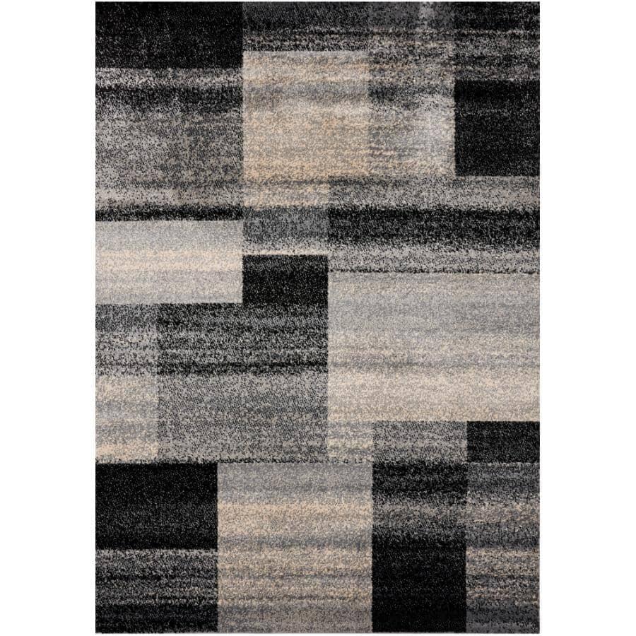 KALORA INTERIORS:6' x 8' Century Area Rug - Black, Grey + Cream Pattern