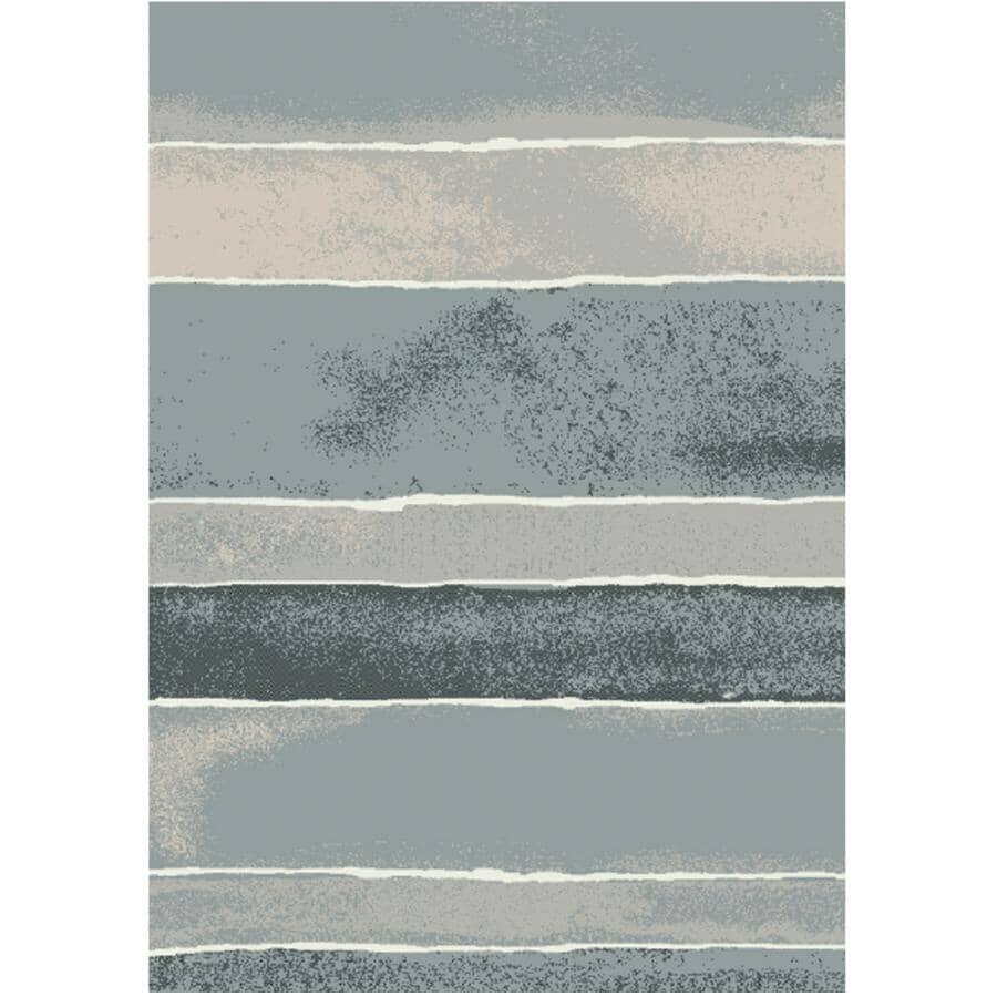 KALORA INTERIORS:6' x 8' Century Area Rug - Grey Pattern + White Stripes