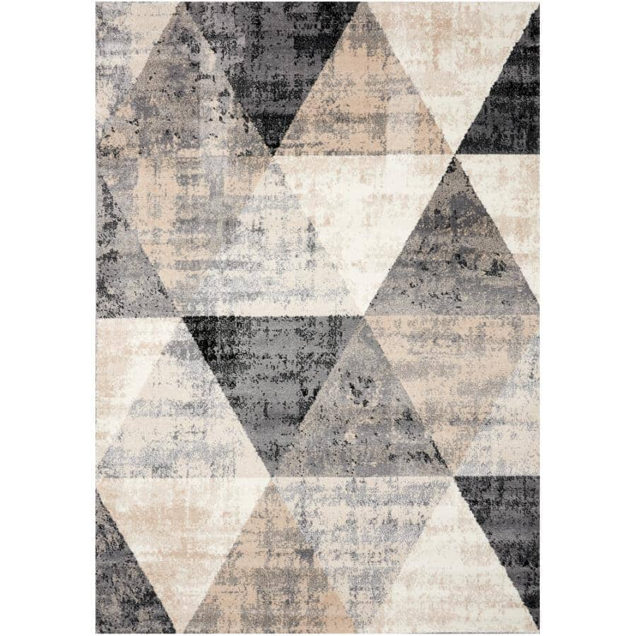 KALORA INTERIORS:6' x 8' Century Area Rug - Cream, Black + Grey Triangle Pattern