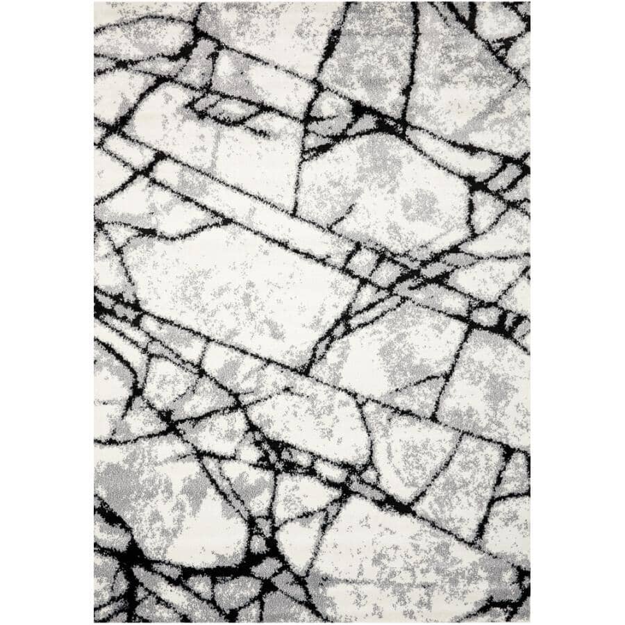 KALORA INTERIORS:6' x 8' Century Area Rug - White, Grey + Black Design