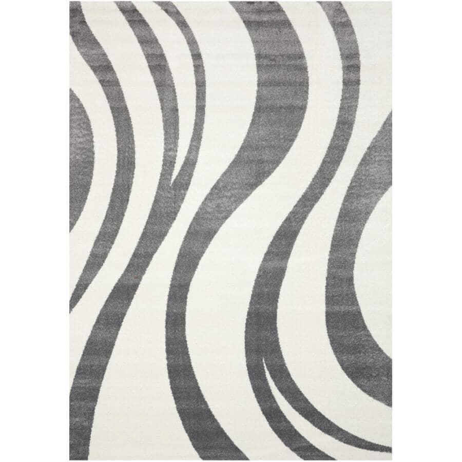 KALORA INTERIORS:6' x 8' Century Area Rug - White + Grey Design