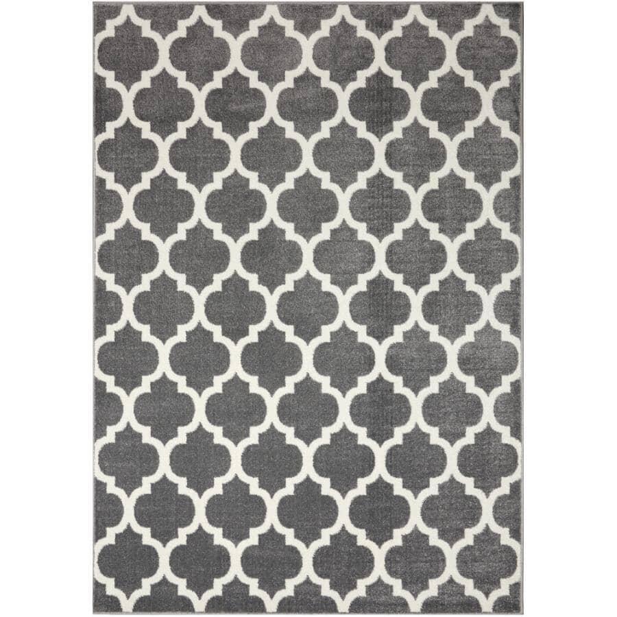 KALORA INTERIORS:6' x 8' Century Area Rug - Grey + White Pattern