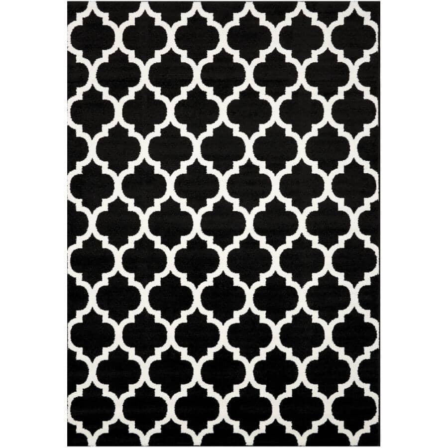 KALORA INTERIORS:6' x 8' Century Area Rug - Black + White Pattern