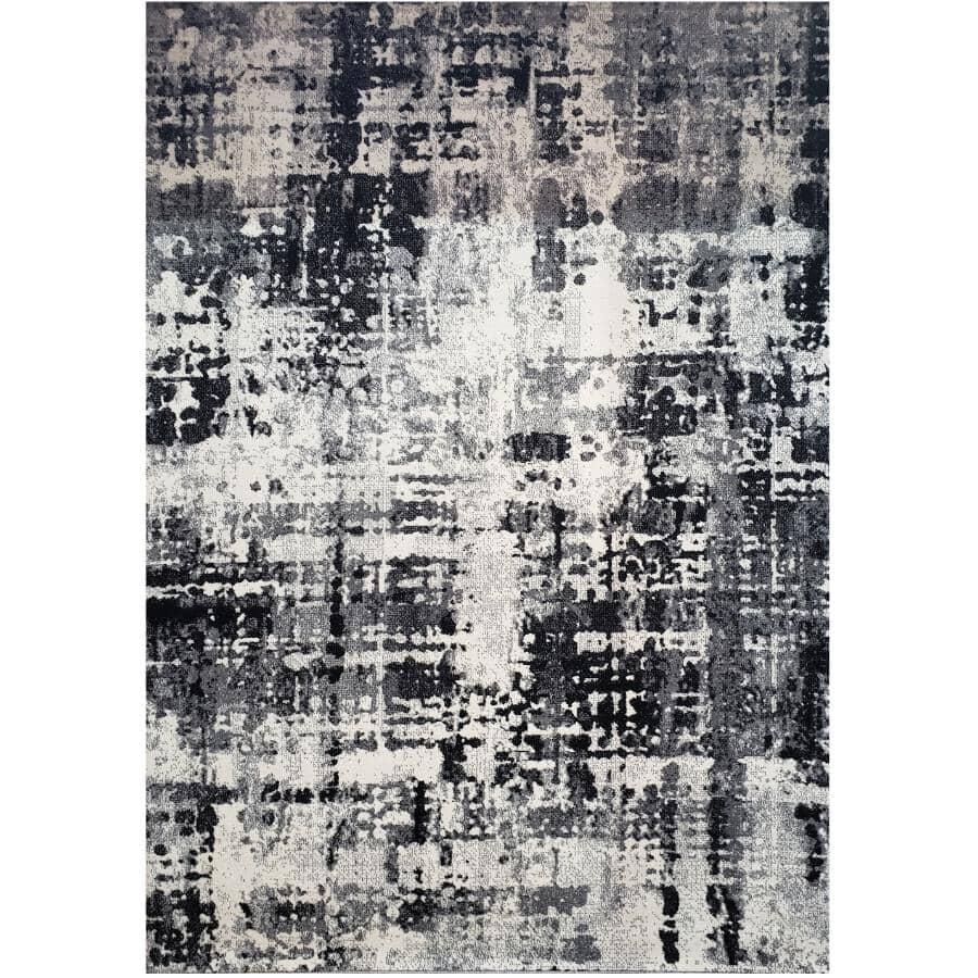 KALORA INTERIORS:6' x 8' Century Area Rug - Light Grey, Dark Grey + Black Design