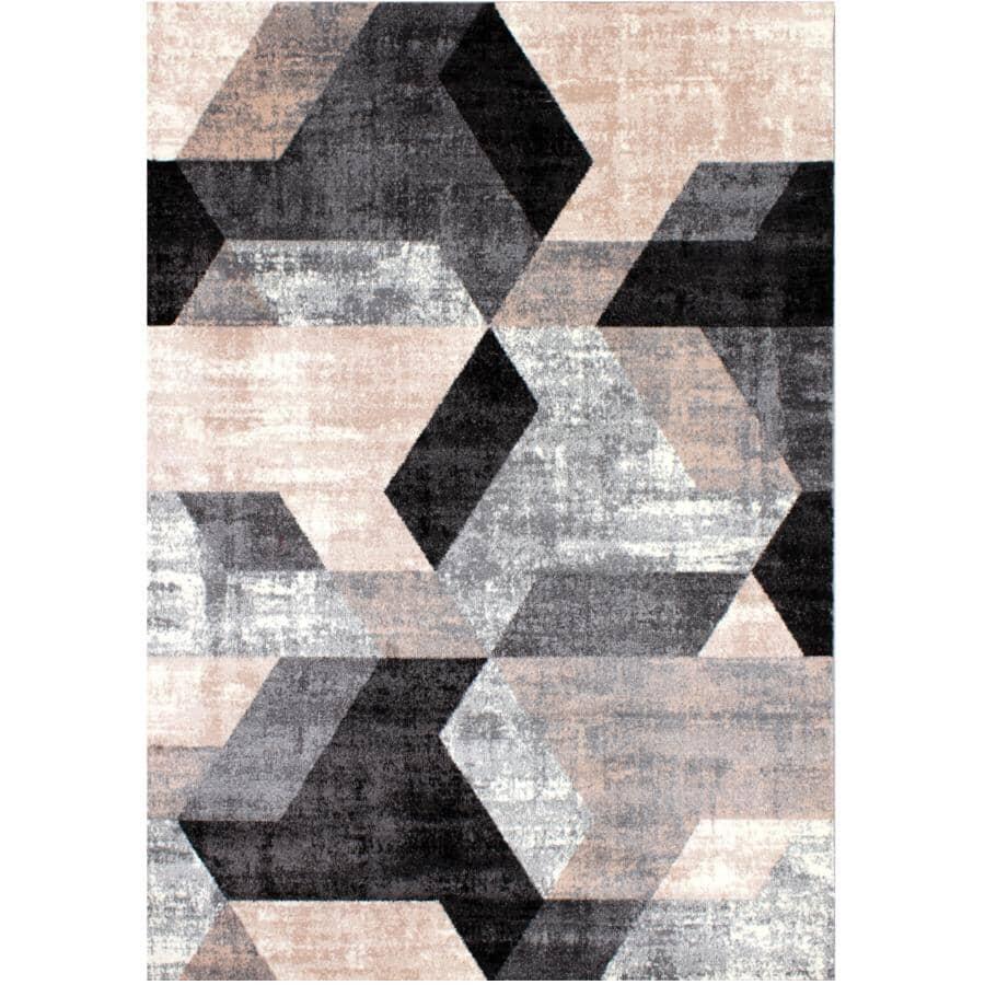 KALORA INTERIORS:6' x 8' Dawn Area Rug - Beige, Black, Grey + White Pattern