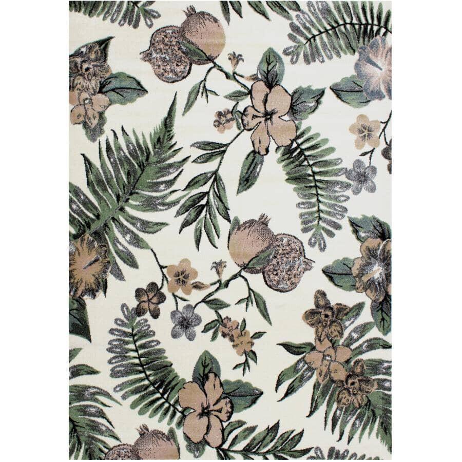 KALORA INTERIORS:6' x 8' Dawn Area Rug - Cream, Green + Beige Floral Design