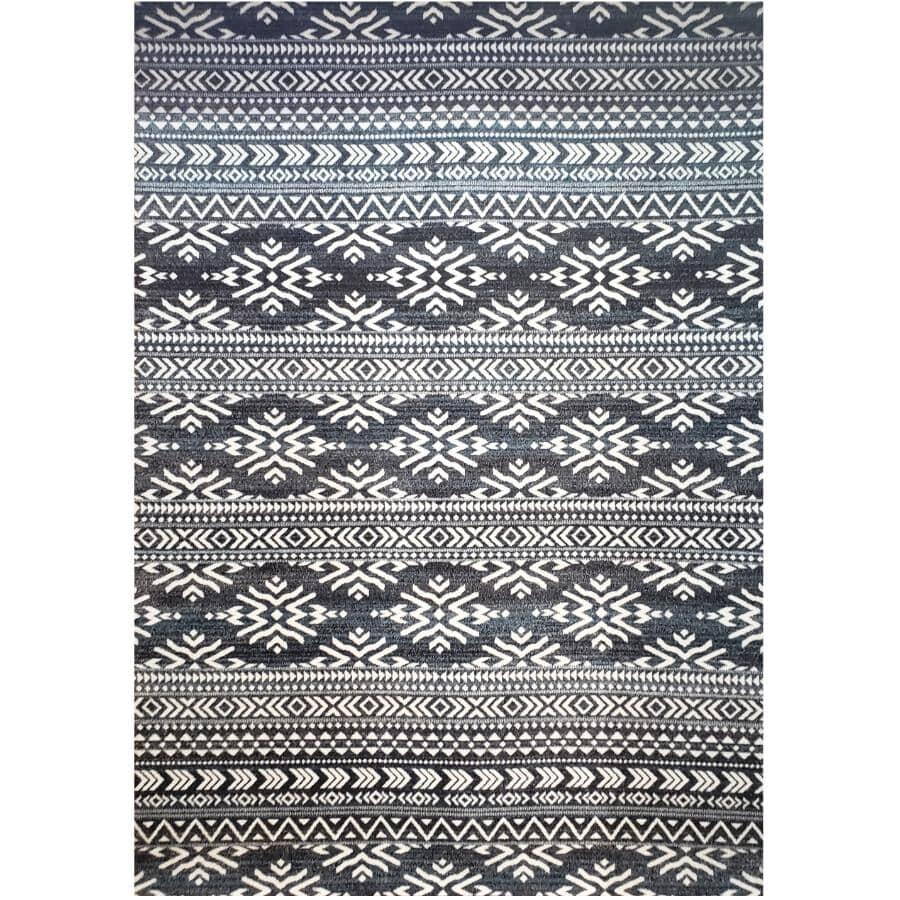 KALORA INTERIORS:6' x 8' Dawn Area Rug - Dark Grey + White Pattern
