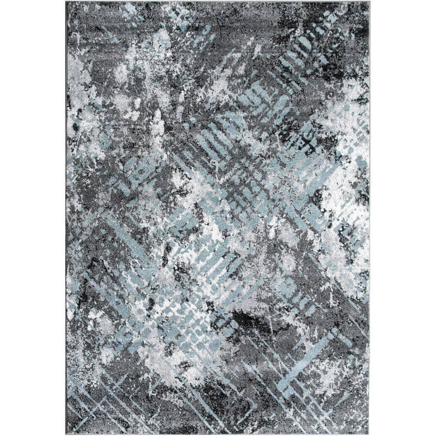 KALORA INTERIORS:6' x 8' Dawn Area Rug - Light Grey to Dark Grey + Blue Design