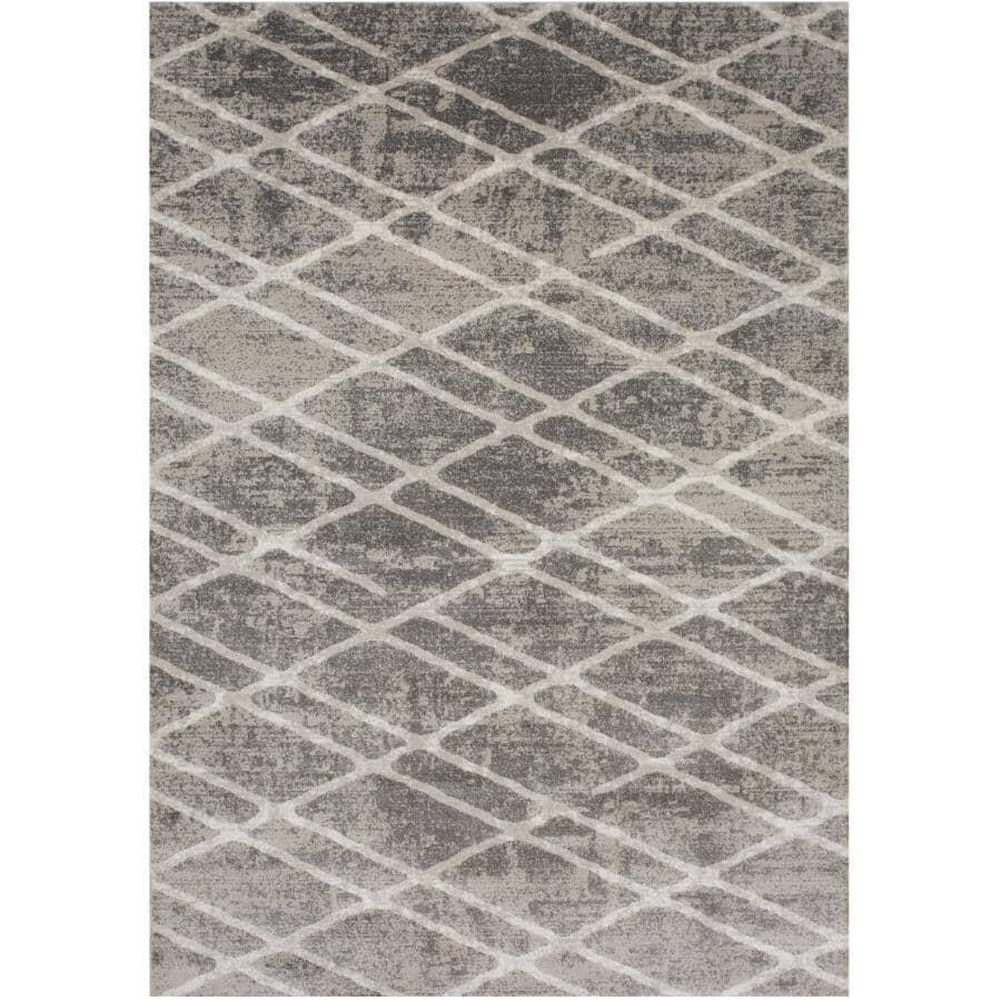 KALORA INTERIORS:6' x 8' Saxon Area Rug - Light Grey to Dark Grey + White Pattern