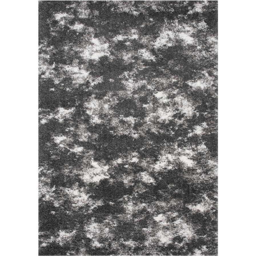 KALORA INTERIORS:6' x 8' Dixon Area Rug - Light Grey to Dark Grey + White Design