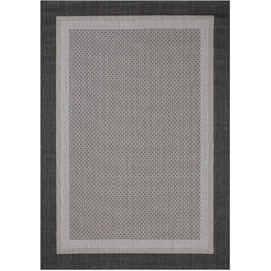 KALORA INTERIORS:6' x 8' Jasper Area Rug - Light Grey + Dark Grey Border