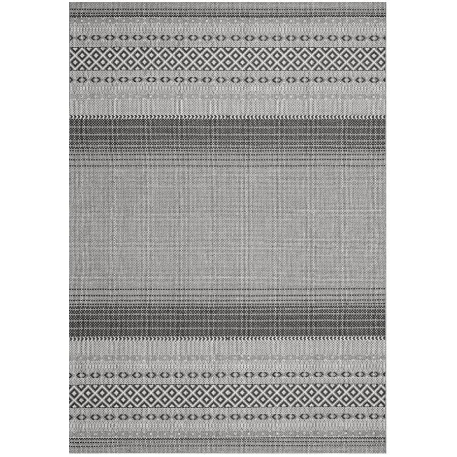 KALORA INTERIORS:6' x 8' Jasper Area Rug - Light Grey to Dark Grey Stripes + Diamond Pattern
