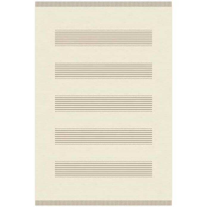 KALORA INTERIORS:6' x 8' Jasper Area Rug - Beige Woven Lines Pattern