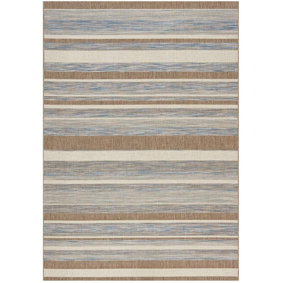 KALORA INTERIORS:8' x 11' Trellis Grey/Brown/Beige Strips Flatweave Area Rug