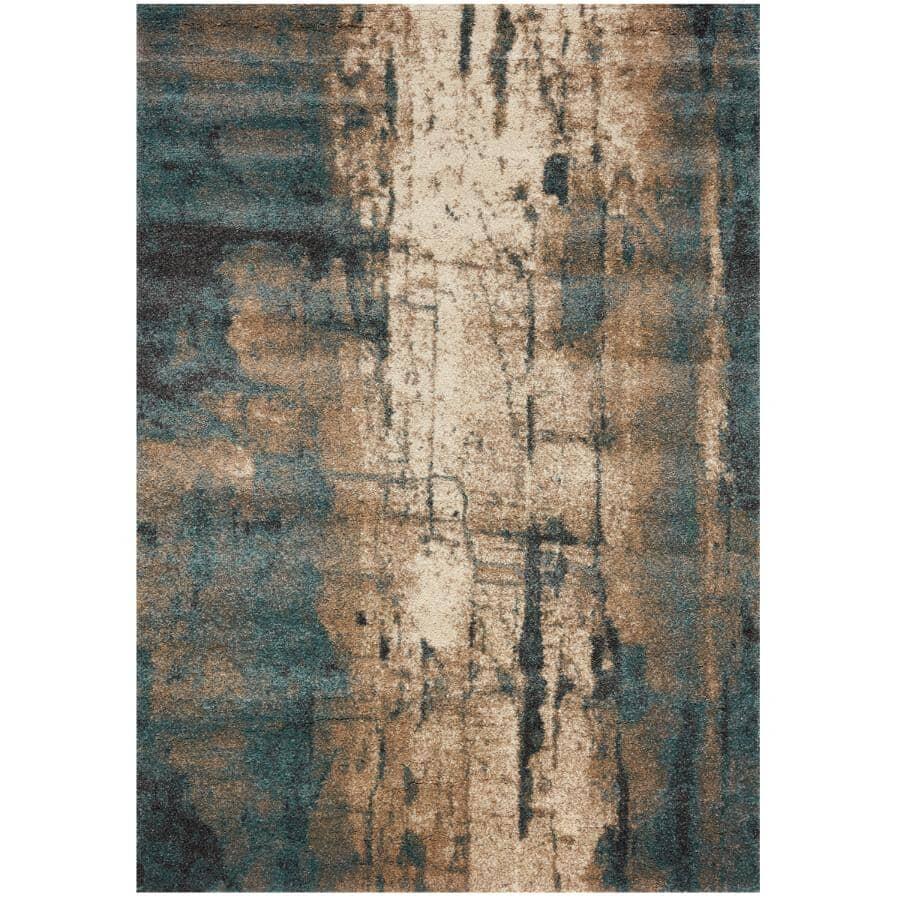 KALORA INTERIORS:8' x 11' Ashbury Grey/Teal/Cream Organics Area Rug