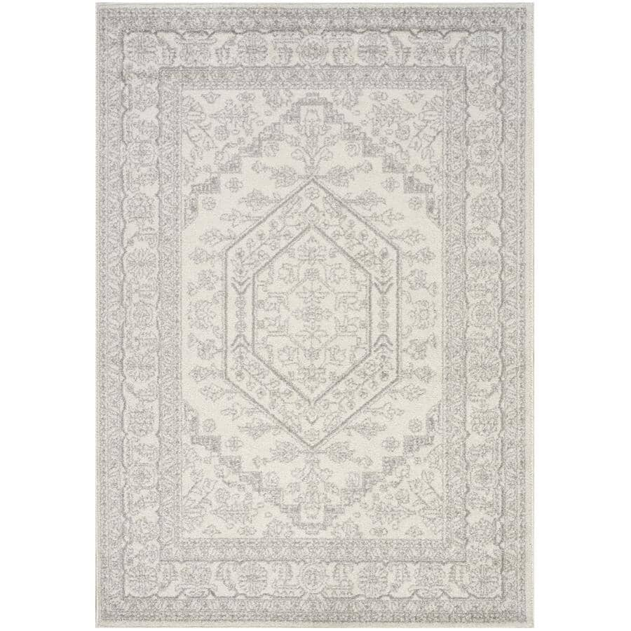 KALORA INTERIORS:8' x 11' Focus White/Grey Traditional Bordered Area Rug