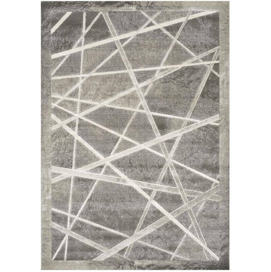 KALORA INTERIORS:6' x 8' Alaska Grey and White Light Show Area Rug