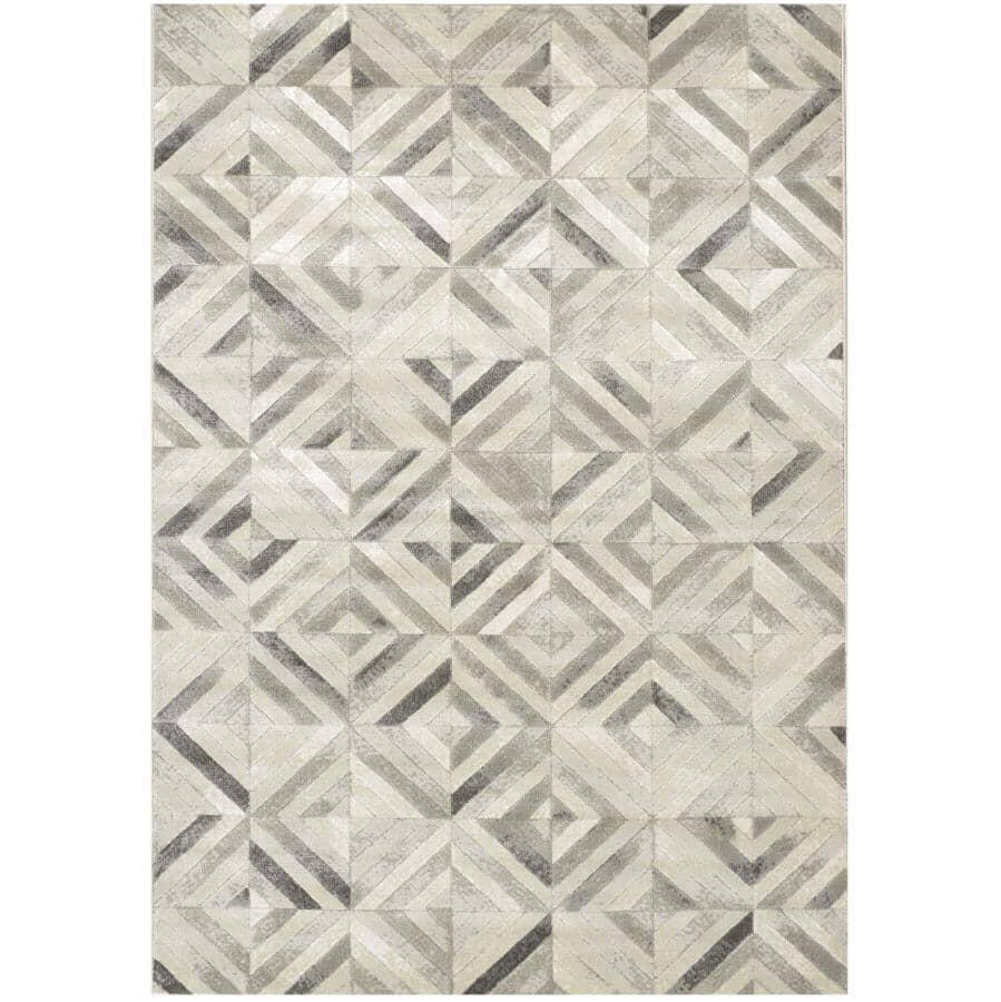 KALORA INTERIORS:6' x 8' Alaska Grey and White Shimmer Tiles Area Rug