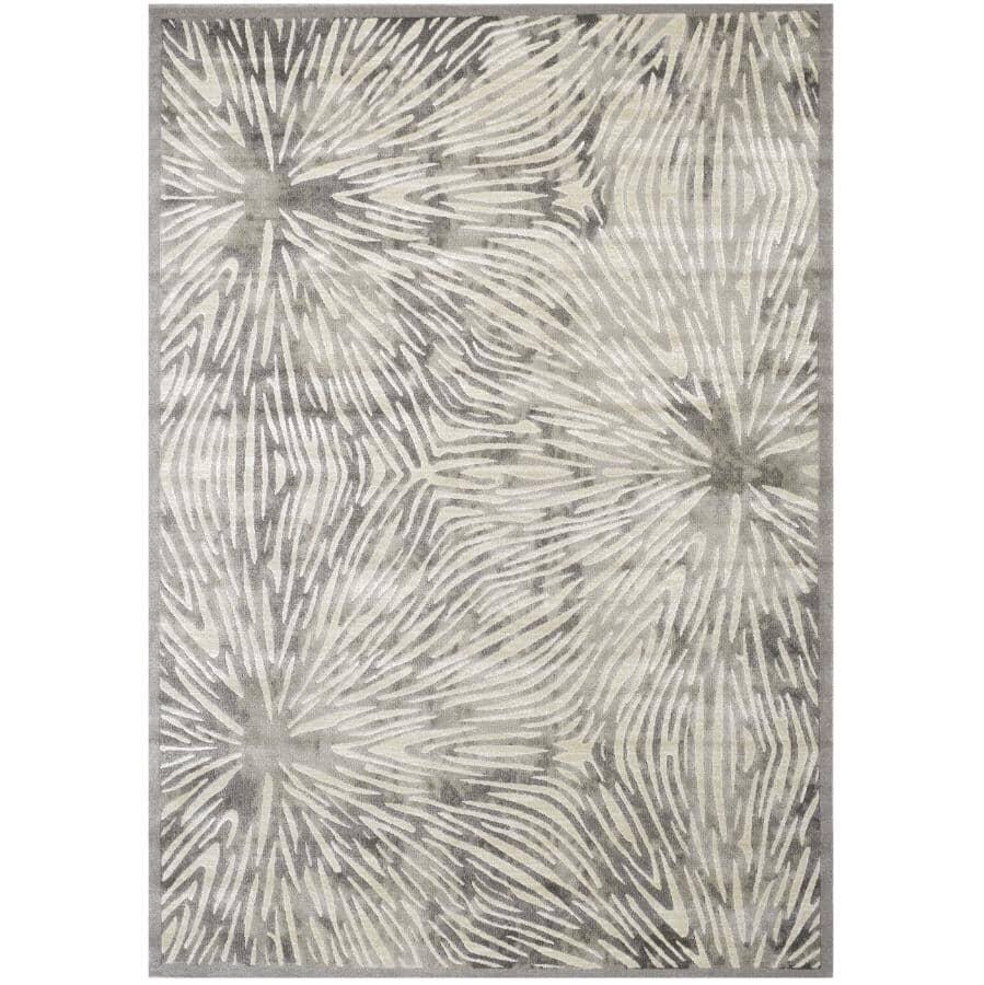 KALORA INTERIORS:8' x 11' Alaska Grey and White Connected Nodes Area Rug