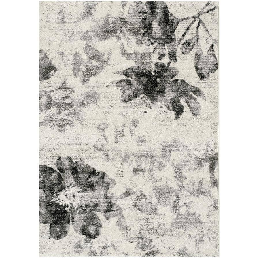 KALORA INTERIORS:6' x 8' Breeze Cream and Grey Floating Flowers Area Rug