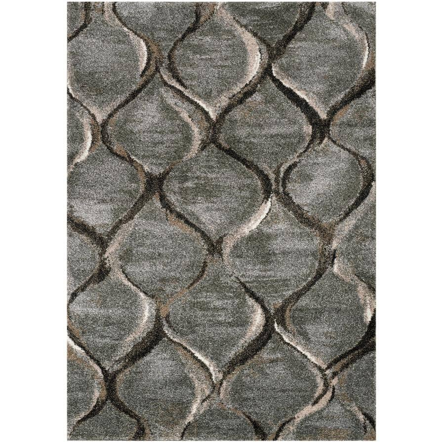 KALORA INTERIORS:8' x 11' Breeze Grey and Brown Serene Ogee Area Rug