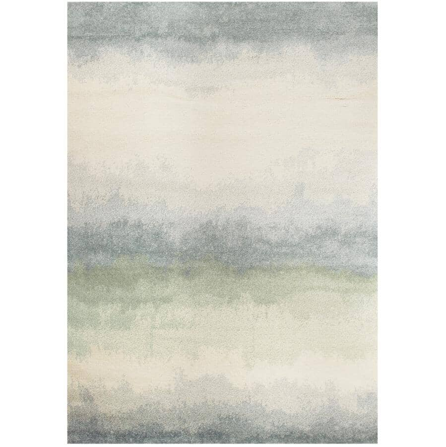KALORA INTERIORS:8' x 11' Focus Cream and Blue Distressed Banded Area Rug