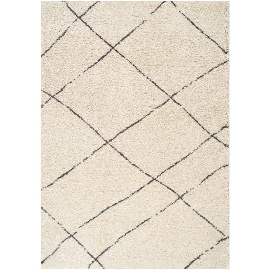 KALORA INTERIORS:6' x 8' Maroq Cream and Grey Uneven Trellis Area Rug