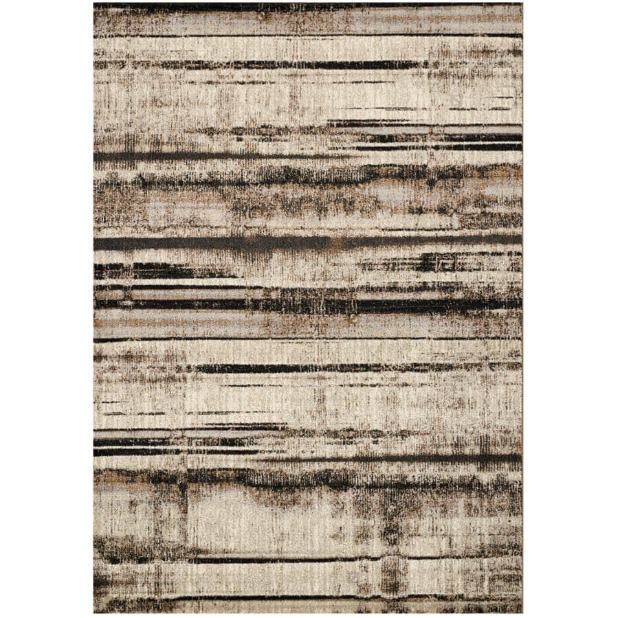 KALORA INTERIORS:8' x 11' Platinum Beige and Brown Distressed Stripes Area Rug