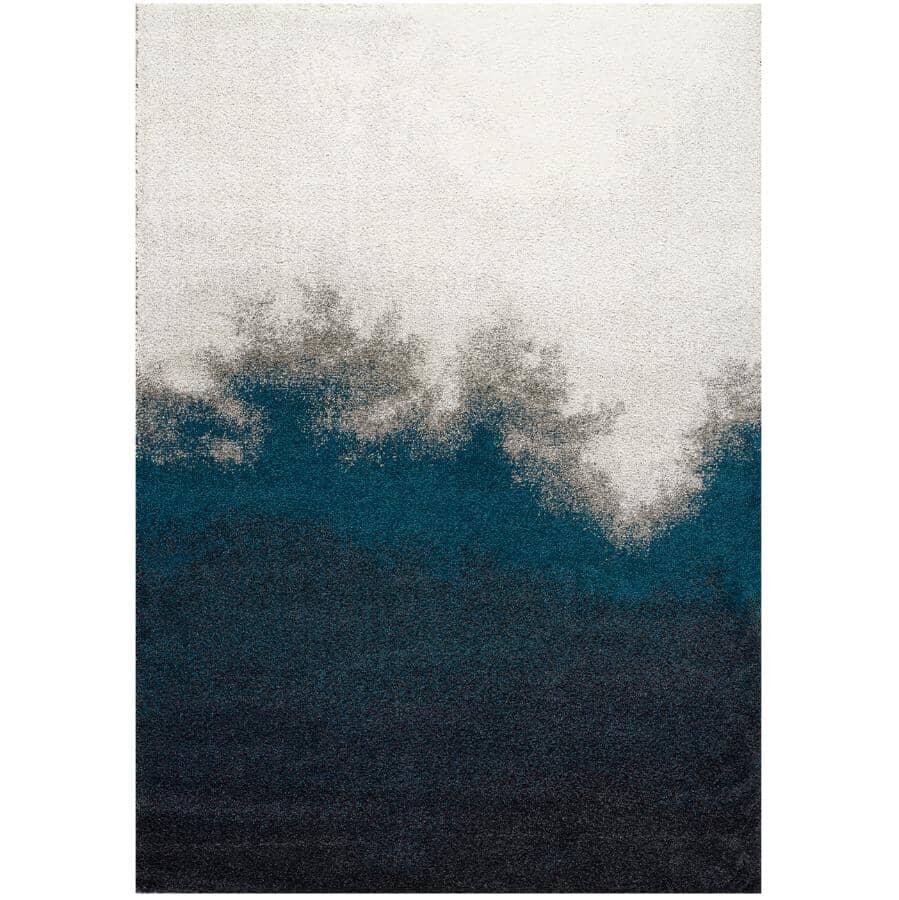 KALORA INTERIORS:8' x 11' Sable Black, Teal and Grey Transition Edge Area Rug