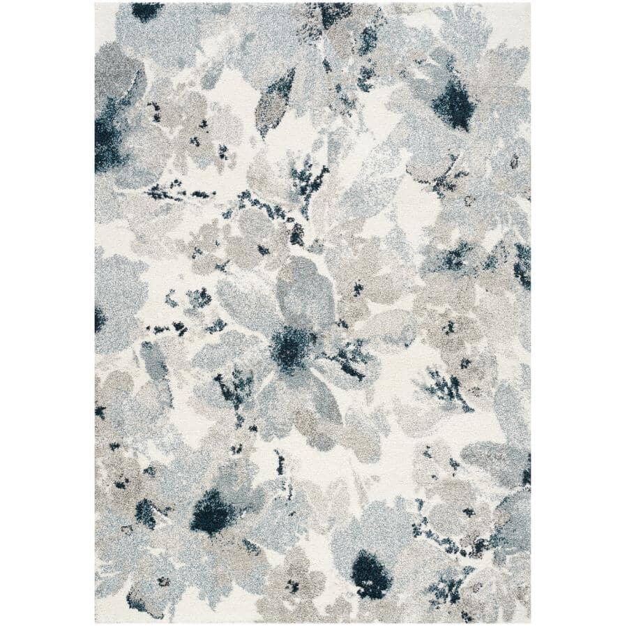 KALORA INTERIORS:6' x 8' Sable Grey, Cream and Blue Floral Pattern Area Rug