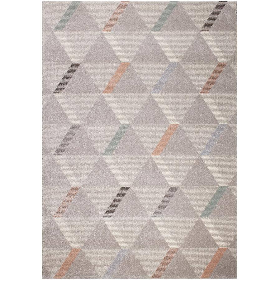 KALORA INTERIORS:6' x 8' Safi Grey and Green Segment Assemblage Area Rug