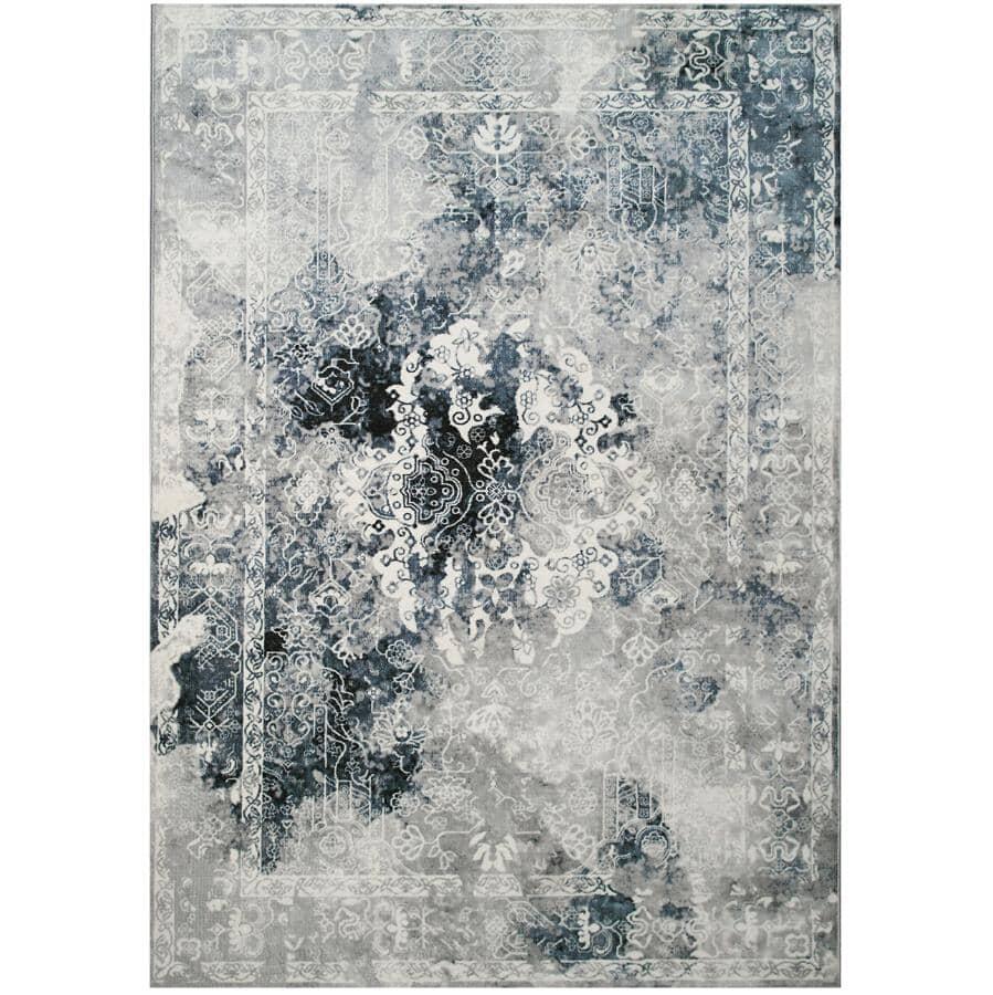 KALORA INTERIORS:6' x 8' Sidra Blue and Grey Chic Transitional Area Rug