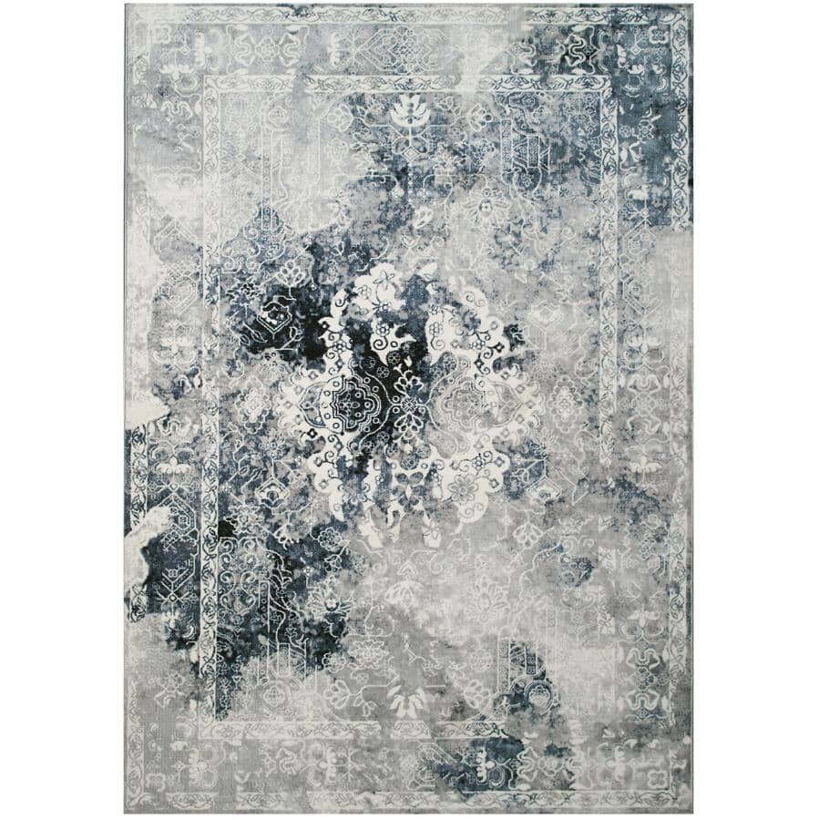 KALORA INTERIORS:8' x 11' Sidra Blue and Grey Chic Transitional Area Rug