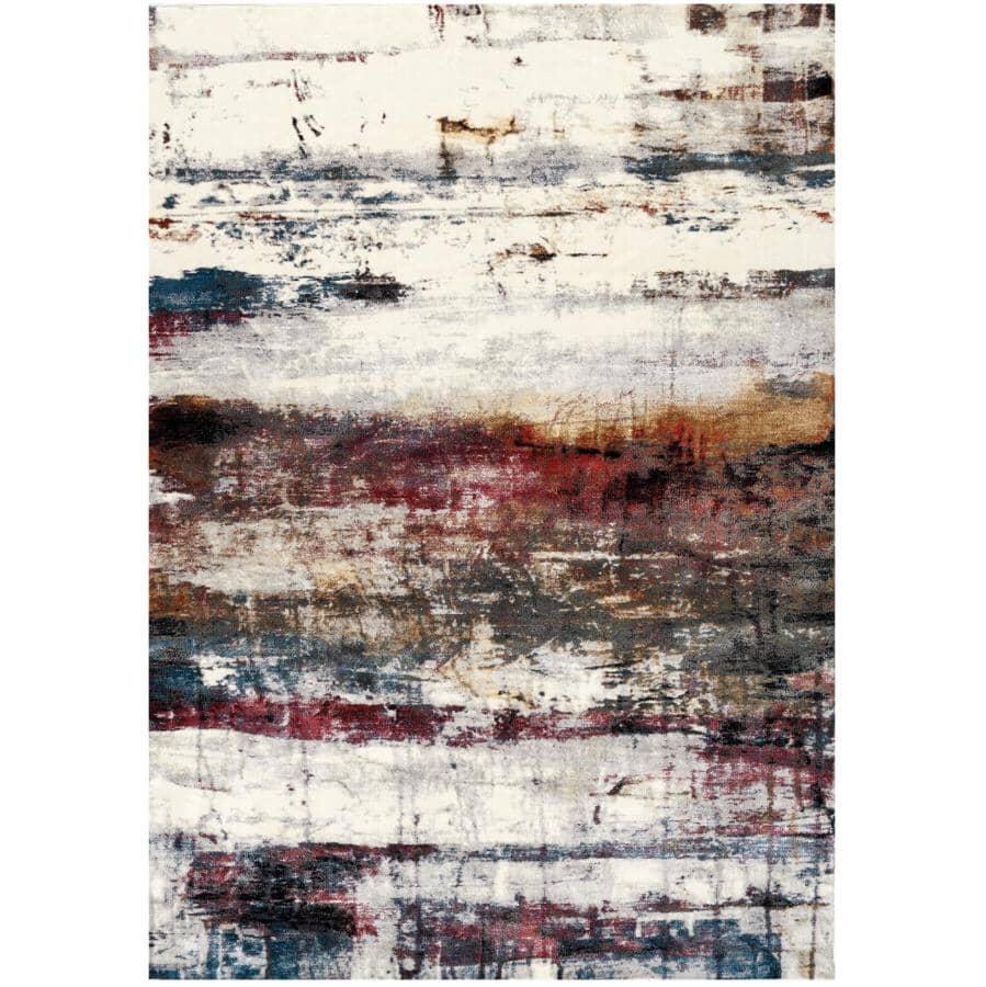 KALORA INTERIORS:6' x 8' Sidra Pink and Cream Artful Distressed Paint Look Area Rug