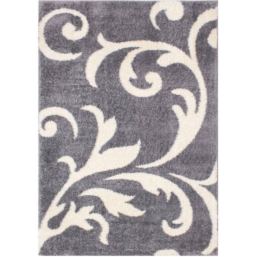 KALORA INTERIORS:6' x 8' Fergus Area Rug - Grey with White Design