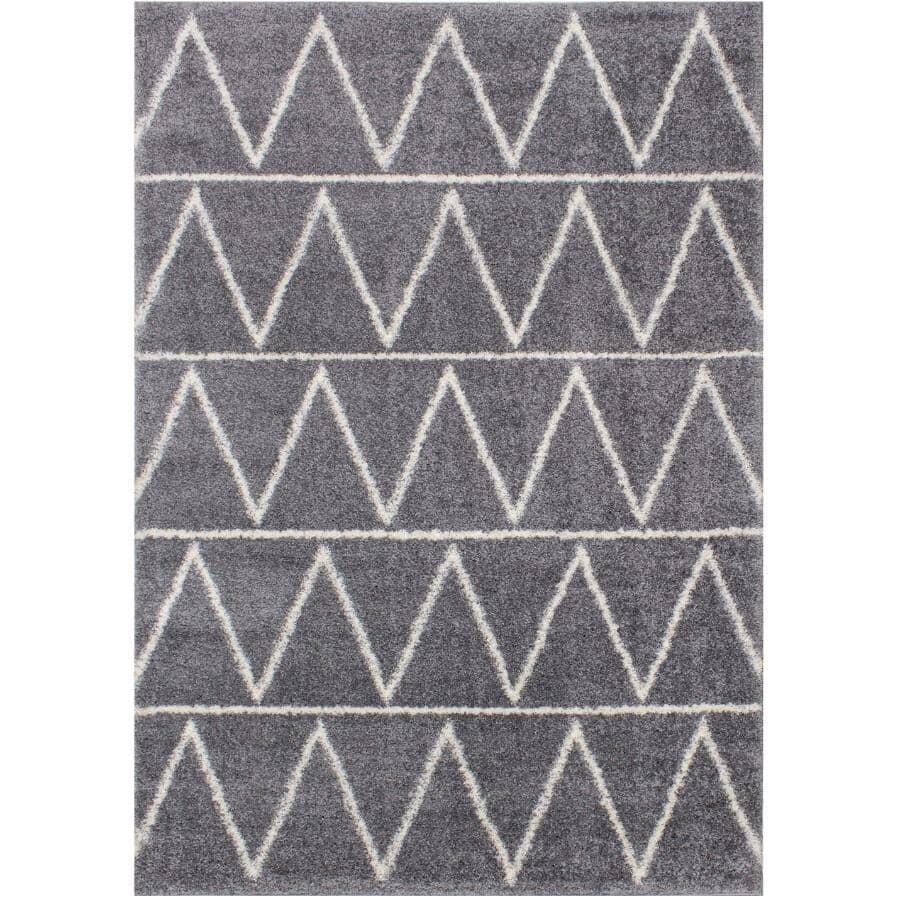 KALORA INTERIORS:6' x 8' Fergus Area Rug - Grey with White Zigzag Design