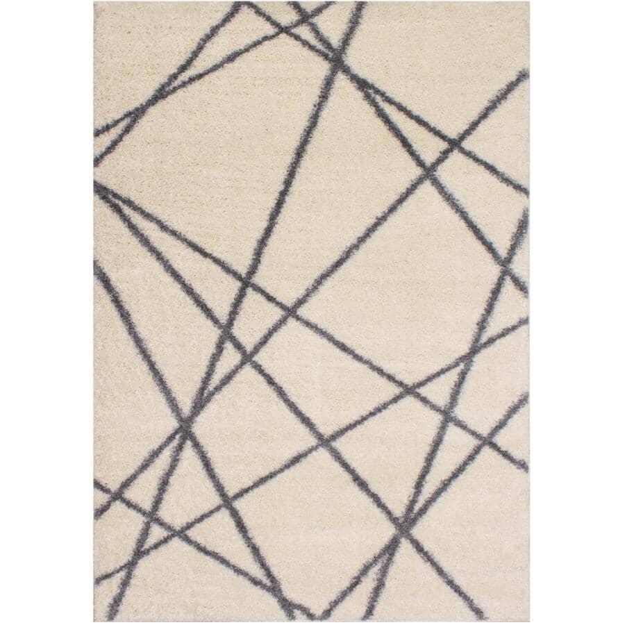 KALORA INTERIORS:6' x 8' Fergus Area Rug - White with Grey Lines